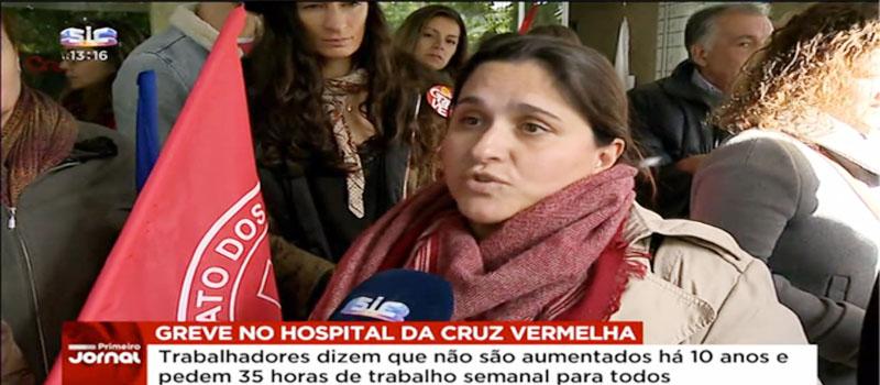 Trabalhadores do Hospital da Cruz Vermelha em greve