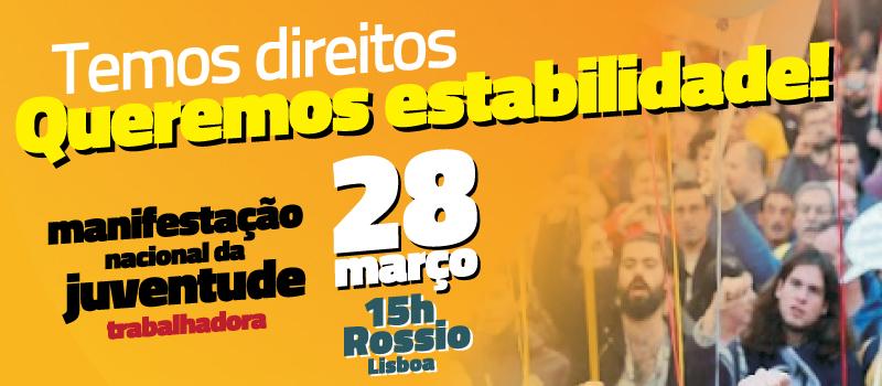 Manifestação nacional da juventude trabalhadora: 28 março